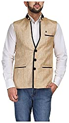 Platinum Studio Mens Mandarin Collor Waistcoat (NJ-777-GLN-40, Golden )