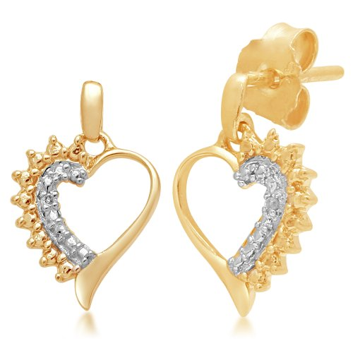 14k Gold Plated Silver Diamond Heart Earrings