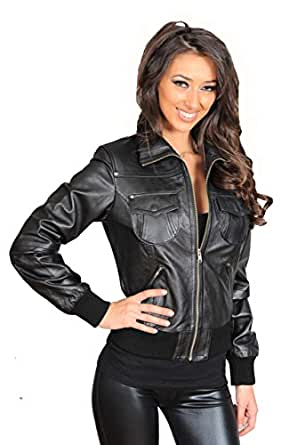 Women's Short Fitted Bomber Leather Jacket Cameron Black at Amazon