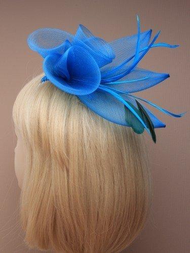 A spirale, misura grande, in rete, imbottitura in piuma d'oca, motivo floreale e fascinator. colore: rosa/blu/grigio/blu, Rosso e viola.
