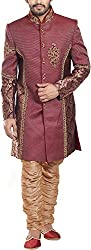 Amafhh Men's Silk Sherwani amfiw9554_40 Maroon 40