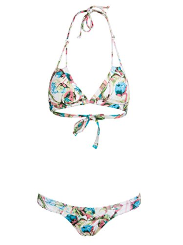 CR Women's Multicolor Triangle Cups Halter Padded Bikini Top And Bottom