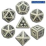 Carved Elvish Dice Set (White and Black)