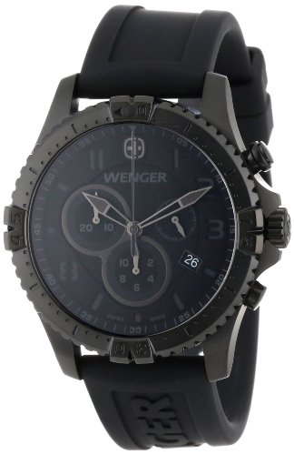 Wenger Men's 77054 Squadron Chrono All-Black Rubber Strap Watch