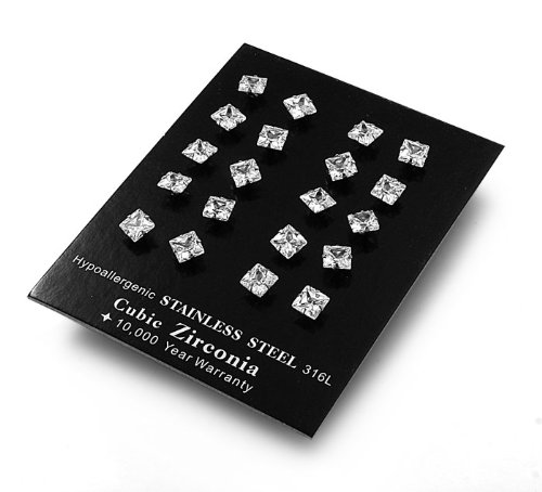 Set of 10 Pairs of 316L Stainless Steel Square Stud Earrings w/ Clear CZ - Size : 5mm x 5mm ,Metal Material : 316 Stainless Steel