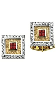 14K Yellow Gold Square Diamond Cufflinks With 4 Princess Cut Rubies In Center-86301