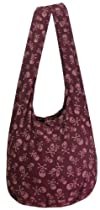 Dark Crimson Red Cotton Printed Skull Goth Punk Purse Crossbody Shoulder Hippie Boho Hobo Messenger Bag PK13