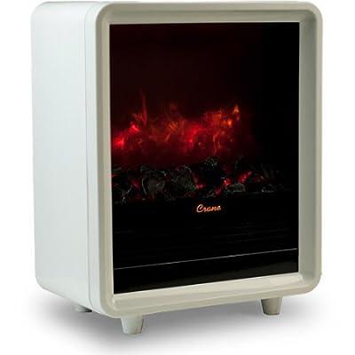 Portable White Crane Mini Fireplace Heater