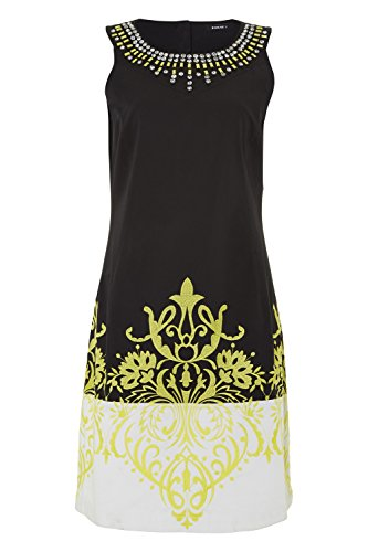 Roman Originals Women's Cotton Embroidered Shift Dress Black Sizes 10-20