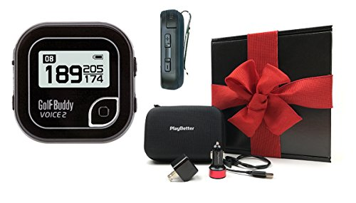 Golf-Buddy-Voice-2-Black-Handheld-Golf-GPS-GIFT-BOX-Bundle-Includes-Handheld-GPS-PlayBetter-USB-Car-Wall-Adapters-GPS-Carry-Case-Black-Gift-Box-Red-Bow