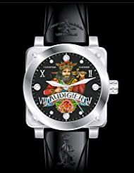 Christian Audigier King Of Hearts Black Rubber Watch FOR-202