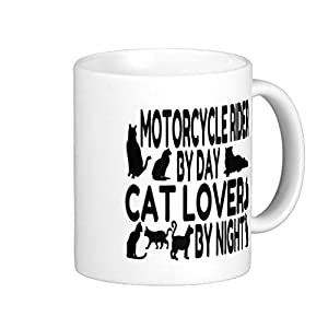 Endingfo Cat Lover Motorcycle Rider Classic White Coffee Mug