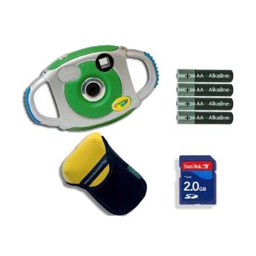 Sakar 25070 Crayola 2.1MP Digital Camera Green Plus Accessory Bundle