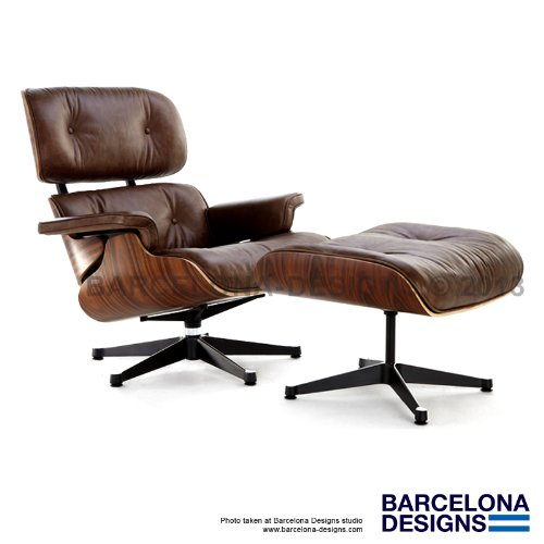 Eames Lounge Chair & Ottoman Style in Italian Leather inspired by the Herman Miller Eames Lounge Chair and Ottoman by Charles & Ray Eames