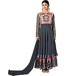 Vasu Saree Imposing Peach and Grey Faux Georgette Floor Length Designer Salwar Suit