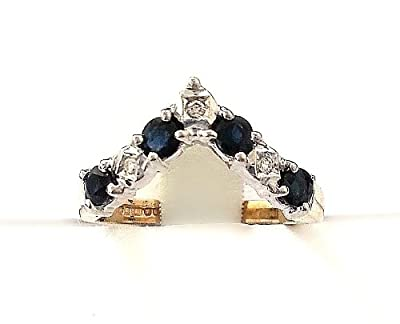 0.05ct H/SI1 Round Brilliant Half Eternity Sapphire & DiamondRing set in 9ct yellow and white gold.Size- N 1/2