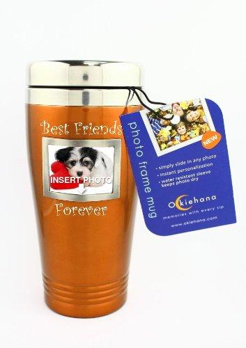 "Okiehana Pet Stainless Steel Travel Mug With Photo Frame, ""Best Friends Forever"", 16-Ounce, Orange"
