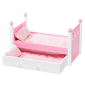 For 18 inch American Girl Doll Single Bed and Trundle Furniture With ONE Mattress and Pink Bedding by Emily Rose Doll Clothes