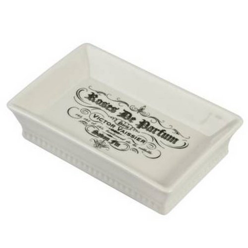 French Parisienne Black and White Square Bathroom Soap Dish