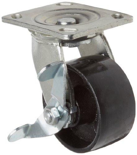 "E.R. Wagner 1F88 4"" Diameter Semi-Steel Wheel Heavy Duty Swivel Plate Caster with Pinch Brake Top Grease Seal, 4-5/8"" Length X 4"" Width Plate, 1000 lbs Capacity Range"