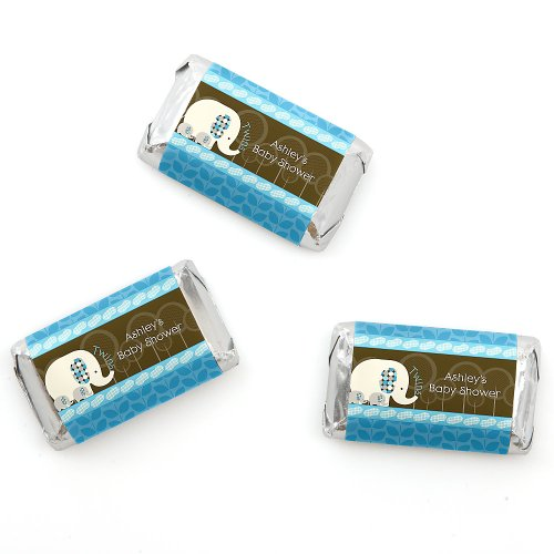 Twin Blue Baby Elephants - Personalized Baby Shower Mini Candy Bar Wrapper Favors - 20 Ct front-803252