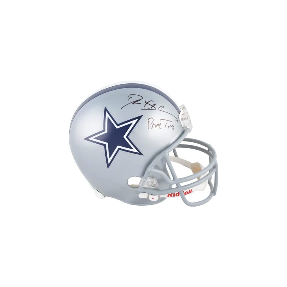 Deion Sanders Autographed Helmet  Details Dallas Cowboys, Inscription Primetime, Riddell Replica Helmet