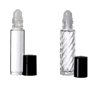 2 Roll-on Refillable Glass Perfume Bottle Purse or Travel Size.