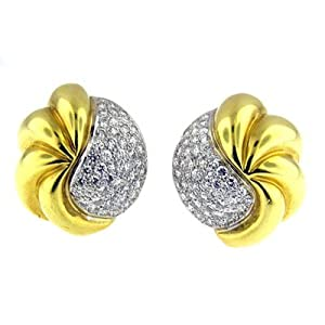3.25 Ct Yellow Gold Diamond Earrings 18kt
