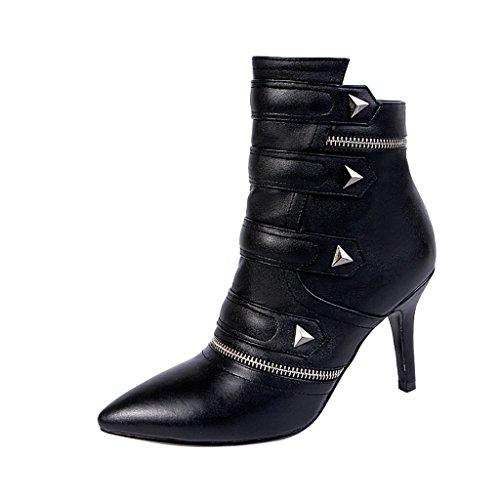 ELEHOT Donna Elecard tacco a spillo 8.5CM Leather Stivali, nero, 40