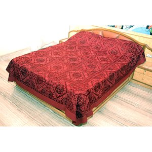 Cotton on Silk Thread Embroidery Mirror Work Bedspread - King Size