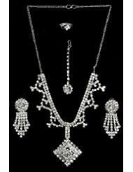 White Stone Studded Necklace Set With Mang Tika And Ring - Stone And Metal
