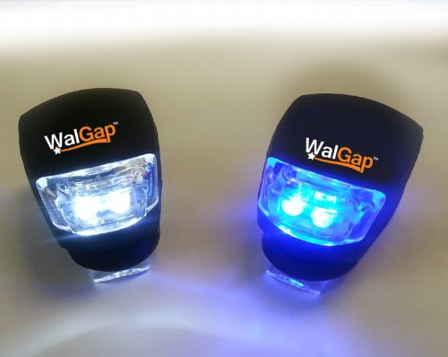 Walgap(Tm) High Quality Set Of 2 Silicone Waterproof Bright Bike Lights, Front And Rear Light - Led Flash Wheel Light (Silicone Black, Led Front White Rear Blue Light)