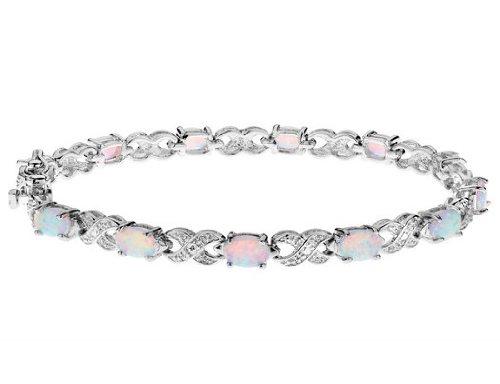 Created Opal Gemstone Bracelet 3.4 Carats in