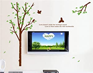 ufengke® Green Garden Series Large Tree and Flying Bird Wall Decals with Quotes, Living Room Bedroom Removable Wall Stickers Murals by Ufingo