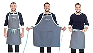 "Cooking Apron with 2 Pockets for Adults Men and Women. Adjustable Neck, ONE Size fits most: Small, Medium & Large: 33.5"" x 29"". Bib and Waist Apron. Kitchen Professional."