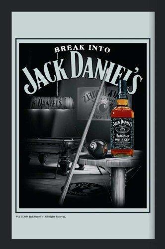Empire 544285 - Specchio stampato Jack Daniels Billiard, con cornice in plastica effetto legno, 30 x 40 cm