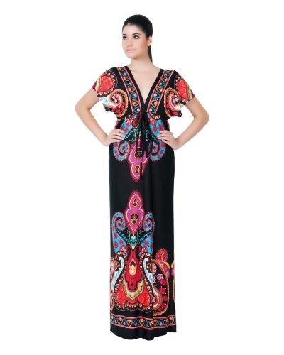 Koh Koh Women's Kimono Sleeve Kashmir Print Long Versatile Cocktail Summer Maxi Dress – X-Large – Black