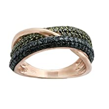 buy 1.26 Total Carat Weight Real Green & Blue Diamond Stylist Two Row Eternity Ring, 925 Sterling Silver, Silver Size 8