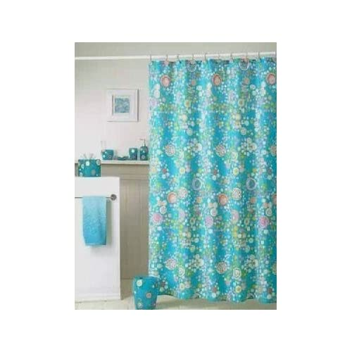 Lolli Bright Turquoise Retro Circle Dots Fabric Shower Curtain Hook Set