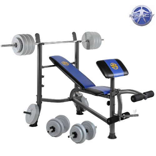Marcy Starter Weight Bench With 50kg Vinyl Weight Set With Barbell  &  Dumbell Bars