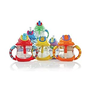 Amazon.com: NUBY BPA FREE 2 Handle 8oz. Cup / Flip-It Straw Top, Boy Colors: Baby