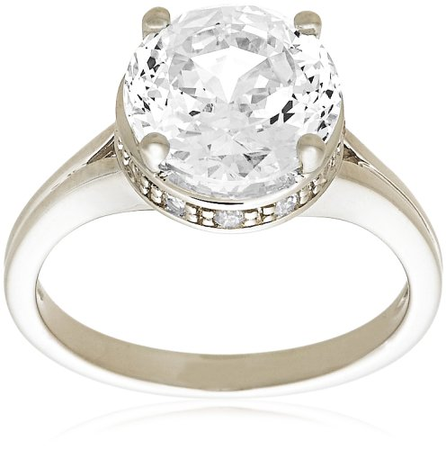 "Platinum Plated Sterling Silver ""100 Facets Collection"" Solitaire Cubic Zirconia Ring, Size 8"