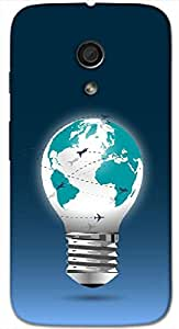 Timpax Protective Hard Back Case Cover With Easy access to all ports Printed Design : A map and a bulb.Precisely Design For : Motorola Moto-G-2 ( 2nd Gen )