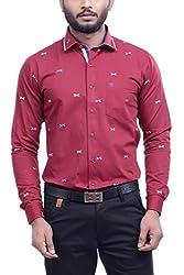 Hoffmen Men's Self Design Cotton Party Shirt