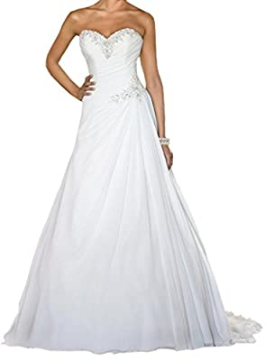 Sing Love Sweetheart Chiffon Crystal Lace Train Wedding Dresses