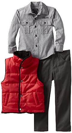 Kenneth Cole Little Boys' Puffy Vest with Check Shirt and Jean, Red, 4
