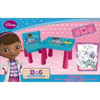 Disney Doc Mcstuffins Sit And Colour Drawing Art Desk Table Chair Play...