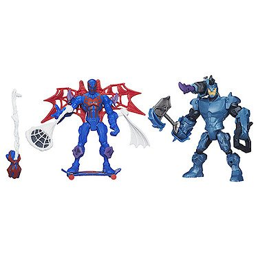 Marvel – Super Hero Mashers – Duo Fusion – Spider-Man 2099 Vs. Rhino – 2 Figurines à Assembler