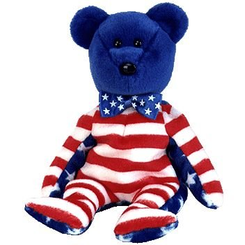 TY Beanie Baby - LIBERTY the Bear (Blue Head Version)