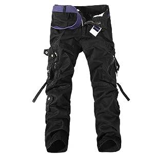 aubig homme coton pantalon de travail noir cargo jeans. Black Bedroom Furniture Sets. Home Design Ideas